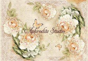 48X33cm 商用販売可能 スタンペリア Peony and laces シャクヤクの花とレース ピオニー デコパージュシート 1枚 和紙 ライスペーパー Stamperia