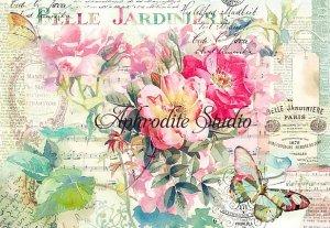 48X33cm 商用販売可能 スタンペリア  Rose and butterfly ローズ&蝶 薔薇 デコパージュシート 1枚 和紙 ライスペーパー Stamperia