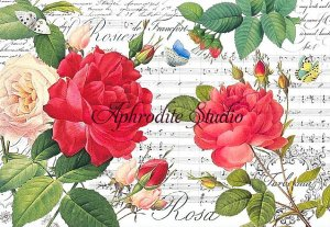 48X33cm 商用販売可能 スタンペリア  Red roses and music ローズ&ミュージック 楽譜 薔薇 デコパージュシート 1枚 和紙 ライスペーパー Stamperia