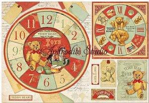 48X33cm 商用販売可能 スタンペリア Teddy Bear watch テディベア 時計 デコパージュシート 1枚 和紙 ライスペーパー Stamperia