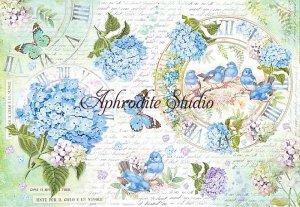48X33cm 商用販売可能 スタンペリア Hidrangea and birds 紫陽花と小鳥 デコパージュシート 1枚 和紙 ライスペーパー Stamperia