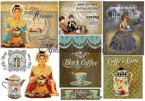 48X33cm 商用販売可能 スタンペリア Black Coffee ヴィンテージコーヒーの看板 ラベル デコパージュシート 1枚 和紙 ライスペーパー Stamperia