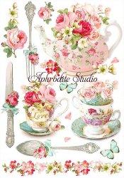 商用販売可能 Floral mugs and teapots お花のマグとティーポット デコパージュシート 1枚 和紙 ライスペーパー Stamperia