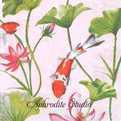 KOI AND WATERLILY ピンク 鯉と水蓮の花 和柄 1枚 バラ売り 33cm ペーパーナプキン Ihr
