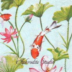 KOI AND WATERLILY ライトブルー 鯉と水蓮の花 和柄 1枚 バラ売り 33cm ペーパーナプキン Ihr
