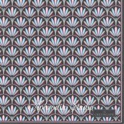 北欧 グリーン・ゲート Victoria ダークグレー シェルのパターン模様 ブラック 1枚 バラ売り 33cm ペーパーナプキン デコパージュ GREENGATE