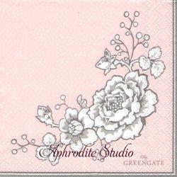 25cm 北欧 グリーン・ゲートElla ピンク 薔薇 1枚 バラ売り ペーパーナプキン デコパージュ GREENGATE NOIR