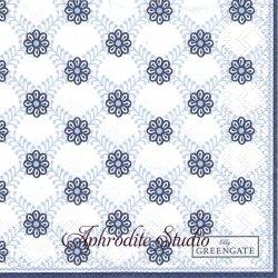 25cm 北欧 グリーン・ゲートLolly ブルー 小花のパターン模様 1枚 バラ売り ペーパーナプキン デコパージュ GREENGATE NOIR