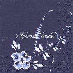 ヴィレロイ&ボッホ BRINDILLE ブルー 青のペイントの花 1枚 バラ売り 33cm ペーパーナプキン デコパージュ Villeroy & Boch