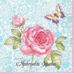 ヴィレロイ&ボッホ ALL ABOUT TEA ライトブルー ピンクの薔薇 1枚 バラ売り 33cm ペーパーナプキン デコパージュ Villeroy & Boch