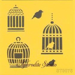 【小鳥とバードケージ】 ステンシルシート♪ 16cm角 テンプレート エンボス ITD Collection
