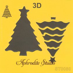 【3D クリスマスツリー】 ステンシルシート♪ 16cm角 テンプレート エンボス ITD Collection