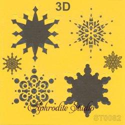 【3D スノーフレーク 雪の結晶】 ステンシルシート♪ 16cm角 テンプレート エンボス ITD Collection