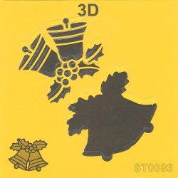 【3D クリスマスのベル】 ステンシルシート♪ 16cm角 テンプレート エンボス ITD Collection