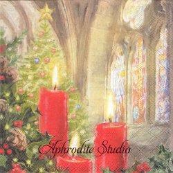 CANDLES IN CHURCH 教会のキャンドル クリスマス 1枚 バラ売り 33cm ペーパーナプキン Ambiente