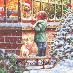 WISHING 窓辺のテディベア クリスマス 1枚 バラ売り 33cm ペーパーナプキン Ambiente