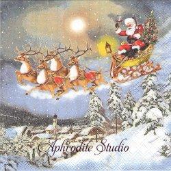SLEIGH RIDE サンタクロースのそり クリスマス 1枚 バラ売り 33cm ペーパーナプキン Ambiente