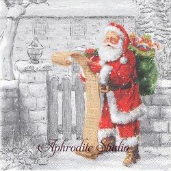 WISH LIST サンタクロースへの手紙 クリスマス 1枚 バラ売り 33cm ペーパーナプキン Ambiente