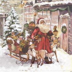 CHRISTMAS VISIT 街行くサンタクロース クリスマス 1枚 バラ売り 33cm ペーパーナプキン Ambiente