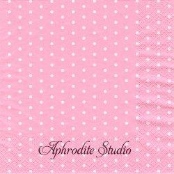 Mini Dots ローズピンク ドット 水玉 1枚 バラ売り 33cm ペーパーナプキン デコパージュ HOME FASHION