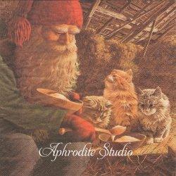 北欧 ジャン・ベルガーリンデ Tomte Katter ニッセと猫 クリスマス 1枚 バラ売り 33cm ペーパーナプキン ti-flair