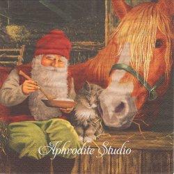 北欧 ジャン・ベルガーリンデ Nisse with Horse ニッセと馬 クリスマス 1枚 バラ売り 33cm ペーパーナプキン ti-flair