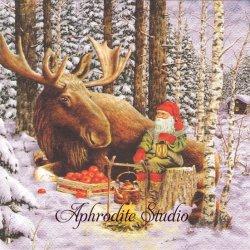 北欧 ジャン・ベルガーリンデ Nisse with Moose ニッセとムース クリスマス 1枚 バラ売り 33cm ペーパーナプキン ti-flair