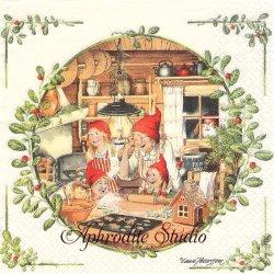 北欧 レナ・ピーターソン Nisser Bakery パンを焼くニッセ クリスマス 1枚 バラ売り 33cm ペーパーナプキン HOME FASHION
