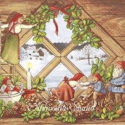 北欧 レナ・ピーターソン Nisser on the window 大きな窓のそばのニッセ クリスマス 1枚 バラ売り 33cm ペーパーナプキン HOME FASHION