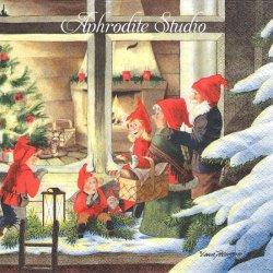 北欧 レナ・ピーターソン Curiously Nisser クリスマスの夜のニッセ 1枚 バラ売り 33cm ペーパーナプキン HOME FASHION