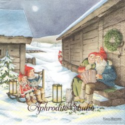 北欧 レナ・ピーターソン Singing Nisser 唄うニッセ クリスマス 1枚 バラ売り 33cm ペーパーナプキン HOME FASHION