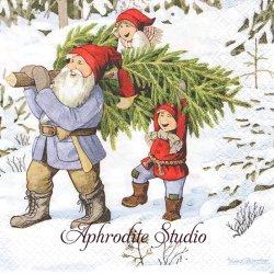 北欧 レナ・ピーターソン Getting a Christmas Tree ニッセのクリスマスツリーの準備 1枚 バラ売り 33cm ペーパーナプキン HOME FASHION