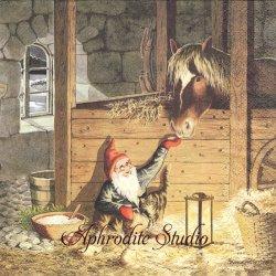 北欧 レナ・ピーターソン True Friends ホントの友達 ニッセと馬 クリスマス 1枚 バラ売り 33cm ペーパーナプキン HOME FASHION