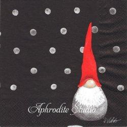 北欧 ルース・ヴェッター SANTA HIGH HAT ブラック クリスマス トムテニッセ 1枚 バラ売り 33cm ペーパーナプキン Ruth Vetter