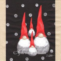 北欧 ルース・ヴェッター SANTA HIGH HAT 親子 クリスマス トムテニッセ 1枚 バラ売り 33cm ペーパーナプキン Ruth Vetter