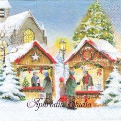 Christmas Market クリスマス・マーケット 1枚 バラ売り 33cm ペーパーナプキン HOME FASHION