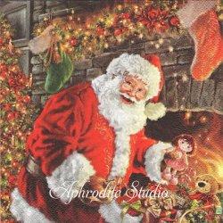 Santa Clause by the Fireplace 暖炉の側のサンタクロース クリスマス・マーケット 1枚 バラ売り 33cm ペーパーナプキン Maki
