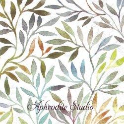 Willow leaves 水彩のグラデーションの葉っぱ 1枚 バラ売り 33cm ペーパーナプキン Paper+Design