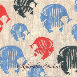 Butterfly fish リネン 熱帯魚 1枚 バラ売り 33cm ペーパーナプキン Paper+Design