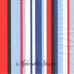 Atlantic stripes ブルーレッド系ストライプ 1枚 バラ売り 33cm ペーパーナプキン Paper+Design