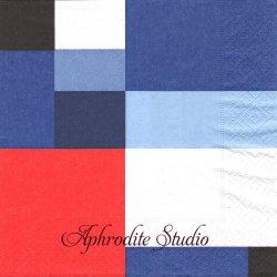 Atlantic squares ブルーレッド系スクエア 1枚 バラ売り 33cm ペーパーナプキン Paper+Design