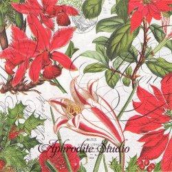 HOLIDAYS ポインセチアとアマリリス クリスマス 1枚 バラ売り 33cm ペーパーナプキン デコパージュ MICHEL DESIGN WORKS
