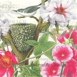PETALS 小鳥の巣とピンクの花 1枚 バラ売り 33cm ペーパーナプキン デコパージュ MICHEL DESIGN WORKS