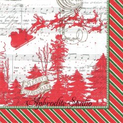 25cm SLEIGH RIDE レッド そりに乗るサンタクロースのシルエット クリスマス 1枚 バラ売り ペーパーナプキン デコパージュ用 MICHEL DESIGN WORKS