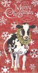 33x42cm パンチスタジオ JOY TO THE FARM リースの首飾りの牛 クリスマス 1枚 バラ売り ペーパーナプキン ゲストタオル Punch Studio