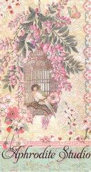 33x42cm パンチスタジオ Haiku Blossoms 藤の花と鳥かごの小鳥 和柄 1枚 バラ売り ペーパーナプキン ゲストタオル Punch Studio