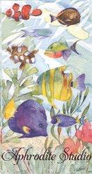33x42cm パンチスタジオ OCEANA 海の底の熱帯魚 1枚 バラ売り ペーパーナプキン ゲストタオル Punch Studio