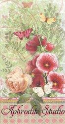 33x42cm パンチスタジオ タチアオイと薔薇の花 1枚 バラ売り ペーパーナプキン ゲストタオル Punch Studio