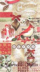 33x42cm パンチスタジオ Golden Bird クリスマス パッチワーク 1枚 バラ売り ペーパーナプキン ゲストタオル Punch Studio