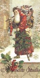 33x42cm パンチスタジオ アンティーク・サンタ ヴィクトリアン クリスマス 1枚 バラ売り ペーパーナプキン ゲストタオル Punch Studio